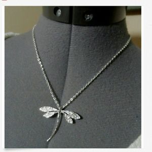 Nwt DRAGONFLY Pendant Necklace Set Silvertone